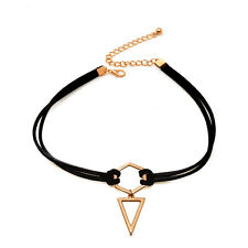 Black Leather Wrap Triangle Pendant Rose Gold Plated Geometry Choker Necklace