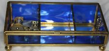 Japanese Glass & Brass Musical Jewelry Box with Sankyo Movement Plays Edelweiss