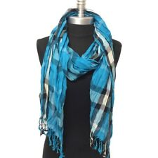NEW Women Soft Classic Plaid Check Crinkle Long Scarf SHAWL Stole WRAP Turquoise