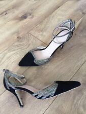 JCrew $278 Colette Ankle-Wrap Pumps in Suede Sz 6.5 Black F8481