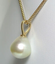 Champagne 13x14mm AA++ quality South Sea saltwater pearl & 9ct gold pendant
