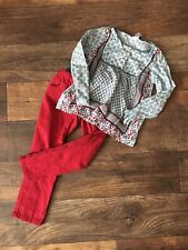 Carter's Two Piece Pants Boho Shirt Size 5 Cranberry Blue
