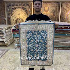 YILONG 1.65'x2.25' Blue Carpet Handwoven Silk Carpet Tapestry Area Rug HF073B
