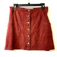HYFVE Women's Skirt Maroon Size M A-Line Faux Suede Snap Button