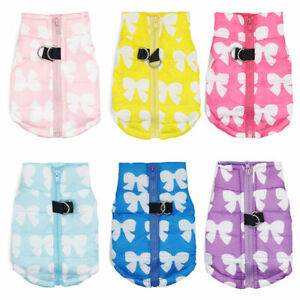 Dog Winter Clothes Pet Puppy Wadded  Bow Printed Zipper Jacket Warm Dogs Vest