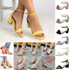Women Ladies Summer Low Block Heels Sandals Buckle Hook Ankle Strap Shoes Beach