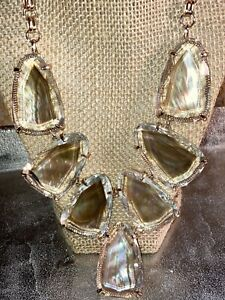 Kendra Scott Harlow Brown Mother Of Pearl Yellow Gold Plated Necklace Beautiful