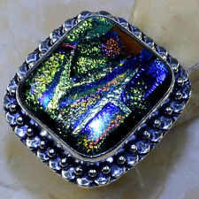 Handmade Sparkling Dichroic Glass 925 Sterling Silver Rings Size: 7.5 #P46500