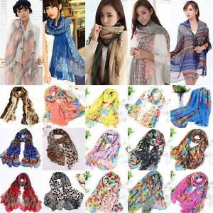 Women Lady Voile Soft Long Scarf Wrap Shawl Stole Ladies Stylish Prints Scarves