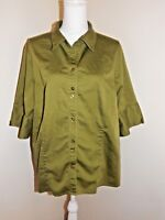Womens Army Green Button-Down Top Shirt - Size 22W/24W - Studio 1940 - Stretch
