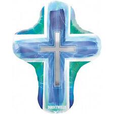 "Baptism/Communion Jumbo Foil / Mylar Blue Balloon Cross Shape 28"""