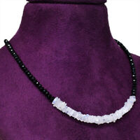 50.00 Cts Earth Mined Faceted Black Spinel & Moonstone Beads Necklace NK 29E60
