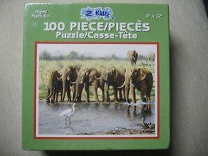 """New 2 Kidzz 100 Piece Puzzle Karmin International Elephants & Birds 9""""x12"""""""