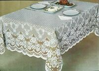 Lace Tablecloth White/Ecru Oval Oblong Square Wedding banquet party restaurant