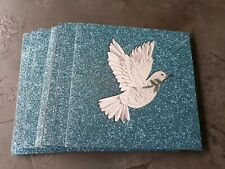 10 Premium Peace Dove Glitter Christmas Cards.15 x 15cms with Envelopes