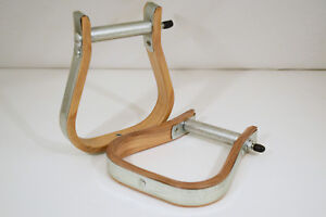 "Western Saddle Stirrup - Uncovered 1"" Visalia - Wood & Metal (E326)"