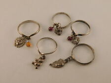 STERLING SILVER CHARM RINGS SUN HEARTS BEAR AMETHYST AMBER SET OF 5