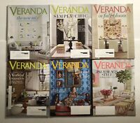 VERANDA MAGAZINE LOT OF 6 Issues March-April 2018 to Jan-Feb 2019 NEVER READ