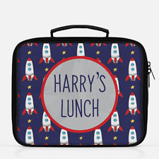 Personalised Rocket Ship Space Boys Lunch Box Lunch Cooler Sandwich School Bag 1