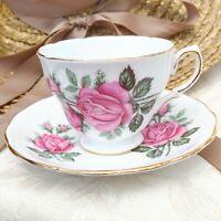 Vintage Royal Vale England White Footed Tea Cup & Saucer Set Pink Roses & Buds