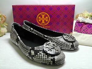 TORY BURCH Croc Embossed Warm Roccia Leather Minnie Travel Ballet Flats Size 9