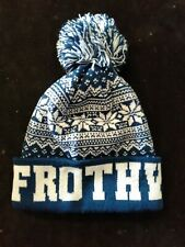"""BEANIE .. """" FROTHY ' .. BRAND NEW .. ONE SIZE FITS ALL .. BLUE & WHITE"""