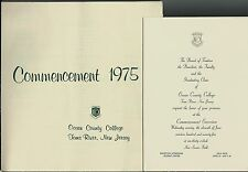 Commencement June 1975 Ocean County College OCC Toms River NJ Program Invitation