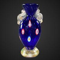 "Vintage Murano Vase Art Glass Millefiori Gold Flecks 2 Handle Cobalt Blue 6""T 2"""