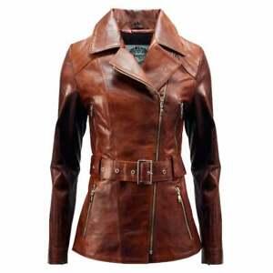 Ladies Brown Leather Belted Vintage Hip Biker Jacket