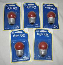 5 New GE Standard Incandescent 7-1/2 W RED Night Light BULBS Sign christmas watt