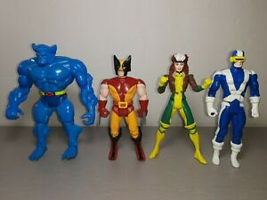 "Vintage 90s Toybiz X-Men Figures 5"" inch Lot Of 4 Wolverine Beast Rogue Cyclops"