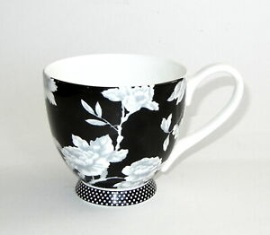Portobello by Inspire Large Footed Cup Black White Floral Design Bone China