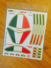 APRILIA ITALIAN FLAG REFRACTIVE REFLECTING STICKERS EMBLEM 15 pc MADE IN ITALY
