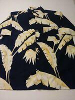 Nautica Mens Hawaiian Shirt Size L Blue Floral Short Sleeve Button Front Cotton