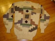 Artesanias Peru alpaca crew ls sweater handmade tan browns gray green S/M