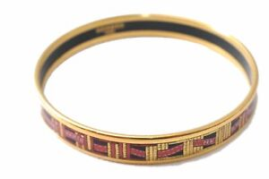 Authentic HERMES Bangle Email Black Red Gold D4348