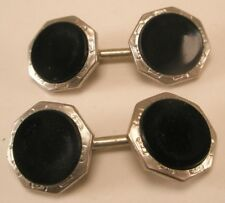 Hickok Double Sided Black & Silver Tone Vintage Victorian Cuff Links gift d-17