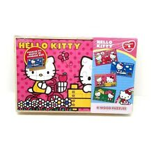 NEW Sanrio Hello Kitty 4 Wood Puzzles 24-Pieces Each Boat/Cooking/Garden/Rain