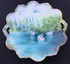 "SIGNED RS PRUSSIA SWANS & GAZEBO 11"" OPEN HANDLED CAKE PLATE ""GORGEOUS"""