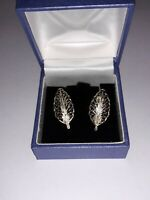 Vintage 925 Sterling Silver Gold Plated Leaf Design Filigree Earrings