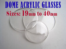 DOME WATCH CRYSTAL,  ACRYLIC watch glass face lens, range 19mm to 40mm