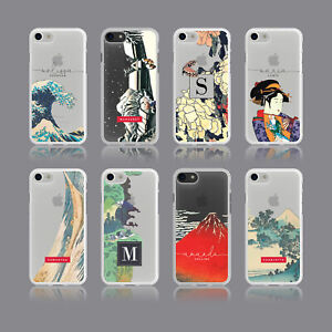 AESTHETIC HOKUSAI JAPAN PERSONALISED INITIALS SOFT PHONE CASE FOR IPHONE SAMSUNG
