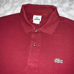 Men's Lacoste Logo Designer Polo Shirt Royal Red Size Large Rare