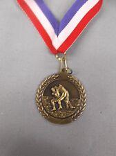 """gold Wrestling medal red/white/blue neck drape trophy 1 3/4"""" diameter"""