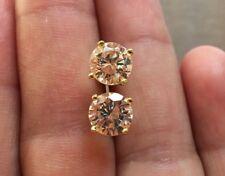Mens Ladies 3.87 ct. Lab Diamond 18K Gold Filled Screw Back Stud Earrings 10mm
