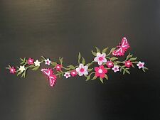 Sew on & iron on embroidery patches( flower vines&butterfly-lavender& hot pink )