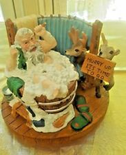 Incense Smoker Santa In The Washtub Reindeer
