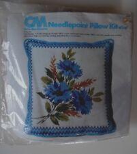 Columbia Minerva Needlepoint Pillow Kit 2466 Cornflowers 1976 New Vintage