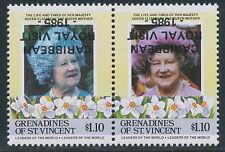 GRENADINES OF ST. VINCENT 1985 Queen Elizabeth RoyalVisit U/M INVERTED OVERPRINT