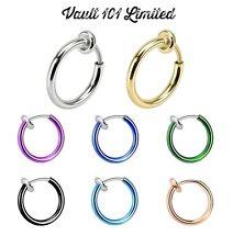 Fake Clip On SPRING Nose Hoop Ring Ear Septum Lip Eyebrow Earrings BCR Piercing